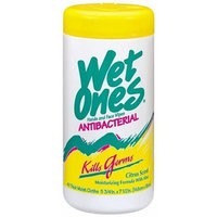 Wet Ones Moist Towelette, Antibacterial, Citrus, Canister, 40 Count