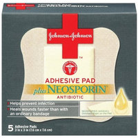 J j Red Cross Johnson & Johnson First Aid Adhesive Pads plus Neosporin Antibiotic, 5-Count Adhesive Pads (Pack of 6)