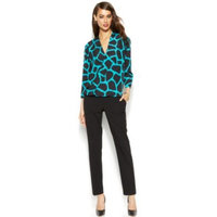 MICHAEL Michael Kors Printed Faux-Wrap Blouse & Skinny Ankle Pants