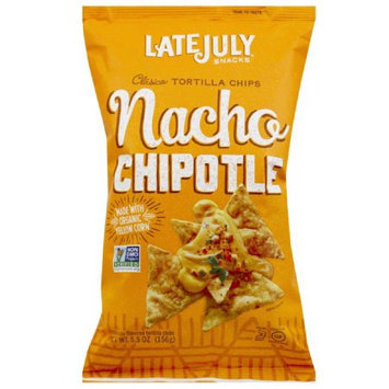 Late July Snacks Nacho Chipotle Clasico Tortilla Chips, 5.5 oz, (Pack of 12)