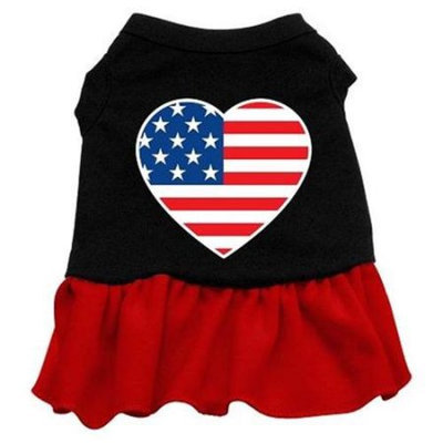 Ahi American Flag Heart Screen Print Dress Black with Red XXL (18)