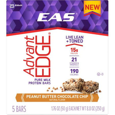 EAS AdvantEDGE Peanut Butter Chocolate Chip Protein Bars, 1.76 oz, 5 count, (Pack of 6)