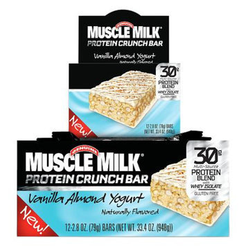 CytoSport Muscle Milk Protein Crunch Bar, Vanilla Almond Yogurt, 12 ea