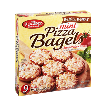 Macabee All Natural Whole Wheat Mozzarella Cheese & Seasoned Sauce Mini Pizza Bagels - 9 CT