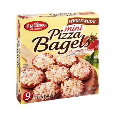Macabee All Natural Whole Wheat Mozzarella Cheese & Seasoned Sauce Mini Pizza Bagels - 9 CT