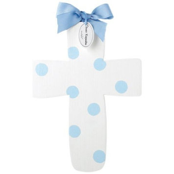 Mud Pie Baby Classic Keepsakes Polka-Dot Wood Wall Cross, Blue