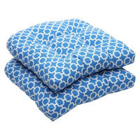 Pillow Perfect Outdoor 2-Piece Wicker Chair Cushion Set - Blue/White Geometric