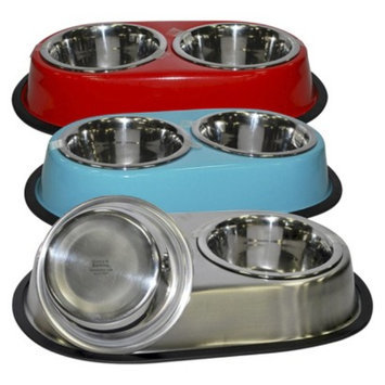 Boots & Barkley Double Dinner Dog Bowls 28 oz - Colors May Vary