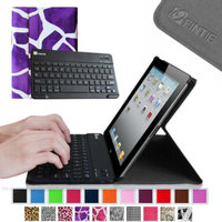 Fintie Bluetooth Keyboard Case for Apple iPad 4th Generation with Retina Display, iPad 3 & iPad 2, Giraffe Purple