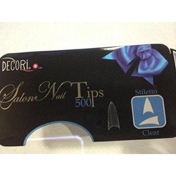 Decori Adoro Acrylic False Artificial Tips Nail Art CLEAR - Stiletto 500 pcs