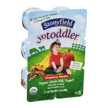 Stonyfield Organic YoToddler Organic Whole Milk Yogurt Strawberry Banana - 6 CT