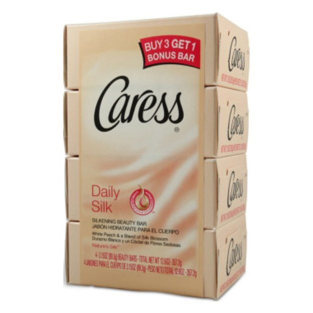 Caress Bar Soap - Daily Silk, 4 ct