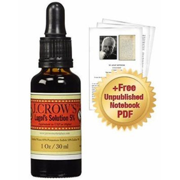 J.CROW'S® Lugol's Solution of Iodine 5% + SPECIAL OFFER: Digital PDF of Dr. Jarvis' Unpublished Notebook