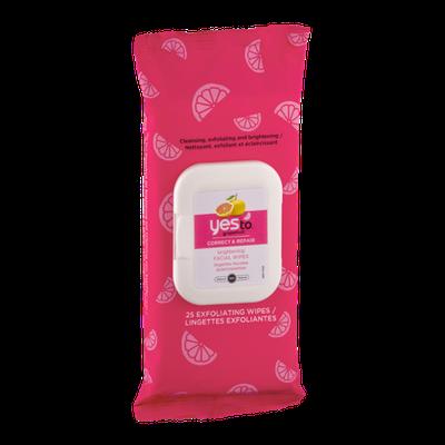 Yes To Grapefruit Facial Wipes Correct & Repair - 25 CT