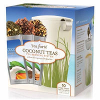 Tea Forté Coconut Loose Tea Starter Set, Gift Set with Spring Grass Kati Cup Tea Brewing System and 10 Single Steeps