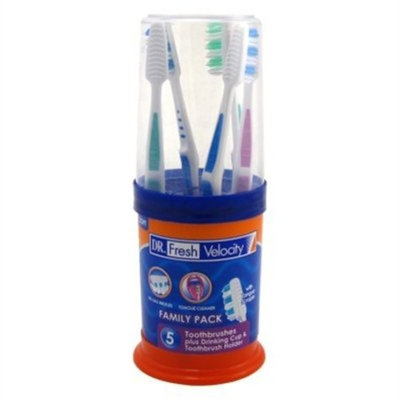 Dr. Fresh Toothbrush Family Pack 5 Count Plus Cup & Holder (6 Pack)
