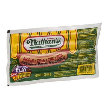 Nathan's Famous Bigger Than The Bun Skinless Beef Franks - 8 CT