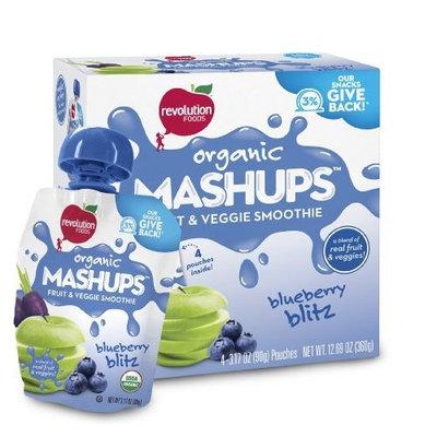 Revolution Foods Organic Mashups Fruit & Veggie Smoothie, Blueberry Blitz, 4 - 3.17 oz Pouches, (Pack of 4)