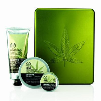 The Body Shop Hemp .04oz Mini Foot Cream, 3.3oz Hand Protector and 1.69oz Body Butter in Decorative Metal Leaf Tin - Brand New