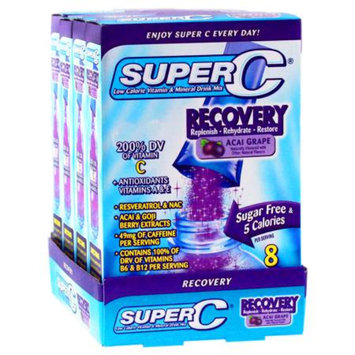 Super C Recovery Vitamin & Mineral Drink Mix, Acai Grape, 32 ea