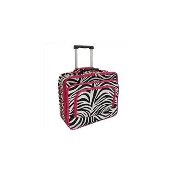 All-Seasons 813102-163F Vogue Fashion Ladies Rolling Laptop Computer Briefcase, Pink Zebra