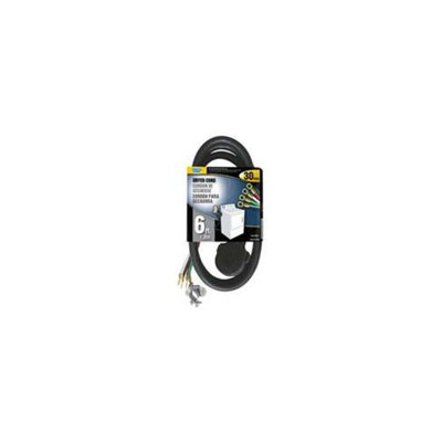 Power Zone ORD100406 Dryer Cord 10/4 Srdt Black 6-Foot Indoor - 4 Conductor - Each
