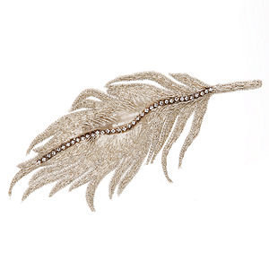 Colette Malouf Embroidered Silk Feather Snap Clip