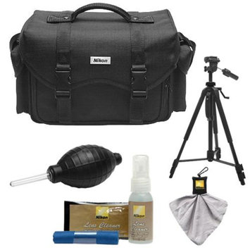 Nikon 5874 Digital SLR Camera System Case - Gadget Bag with Tripod + Cleaning & Accessory Kit for D3100, D3200, D3300, D5100, D5200, D5300, D7000, D7100, D610, D800, D810, D4s