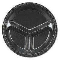 Genpak Foam Plates Black 3 Compartment, 10.25
