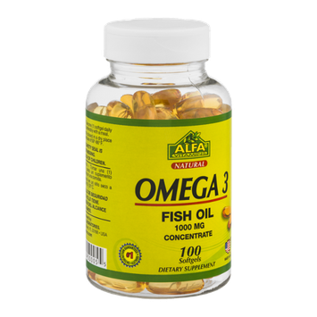 Alfa Vitamins Omega 3 Fish Oil Softgels 1000 MG - 100 CT