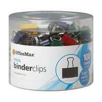 OfficeMax Multicolored Binder Clips, Micro, 100 ct.