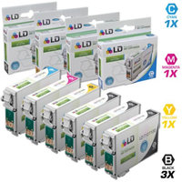 LD Epson Remanufactured T127 Set of 6 Extra High Capacity Ink Cartridges: Includes 3 Black (T127120), 1 Cyan (T127220), 1 Magenta (T127320),1 Yellow (T127420)
