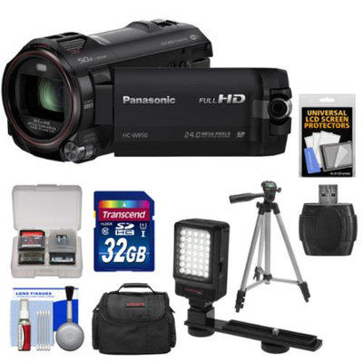 Panasonic HC-W850K Twin Recording HD Wi-Fi Video Camera Camcorder with 32GB Card + Case + LED Video Light + Tripod + Kit