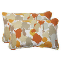 Pillow Perfect Outdoor 2-Piece Rectangular Throw Pillow Set - Orange/Tan Neddick