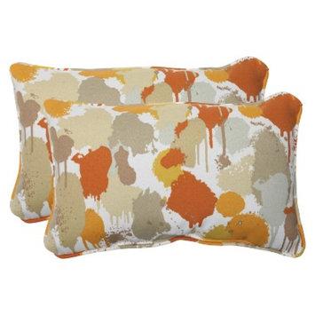 Pillow Perfect Outdoor 2-Piece Rectangular Throw Pillow Set - Orange/Tan Neddick