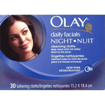 Olay Daily Facials Night Deep Pore Cleansing Cloths 30 lathering cloths