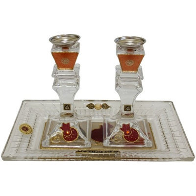 Artsy Casa 5th Ave Candle Stick With Tray Medium Applique - Red - Crystal - Tray 11x 6.5 Candle Stick 6H