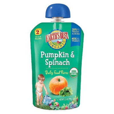 Earth's Best Baby Food Pouch - Pumpkin & Spinach 3.5oz (12 Pack)