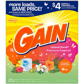 Gain Ultra With FreshLock for High Efficiency Machines Island Fresh Powder Detergent 80 Loads 91 Oz
