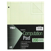 TOPS 8 1/2 x 11 Engineering Computation Pad, Quadrille Rule- Green
