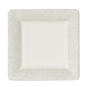 King Zak Ind Lillian Tablesettings 23275 Cream Texture 7 in. Square Plate - 576 Per Case