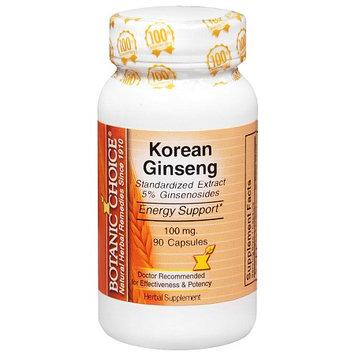 Botanic Choice Korean Ginseng 100 mg Herbal Supplement Capsules