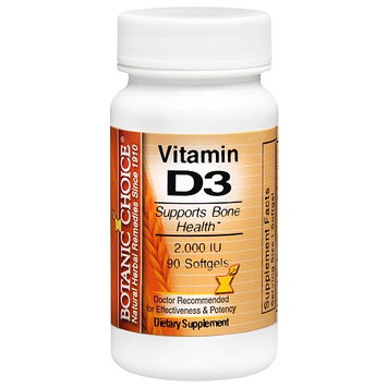 Botanic Choice Vitamin D3 2000 IU Dietary Supplement Softgels