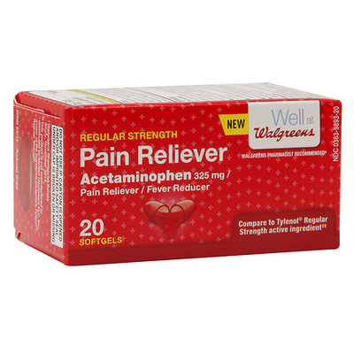 Walgreens Regular Strength Pain Reliever 325 mg Softgels, 20 ea