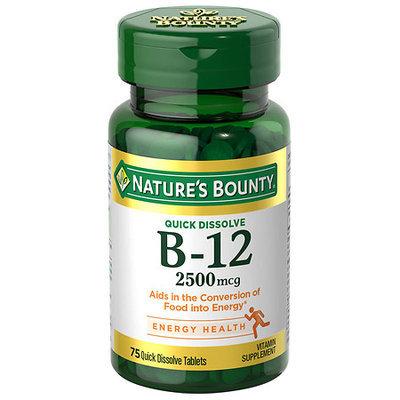 Natures Bounty Vitamin B-12 2500 mcg Quick Dissolve Tablets, Natural Cherry Flavor, 75 ea