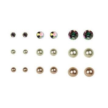 Multi-Color Pearl Earrings, 9 Pack