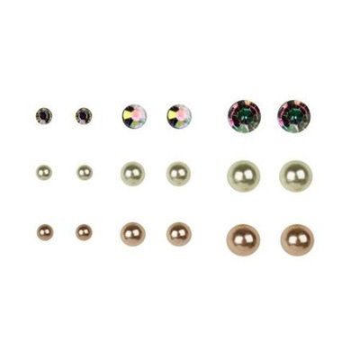 Multi-Color Pearl Earrings, 9 Pack