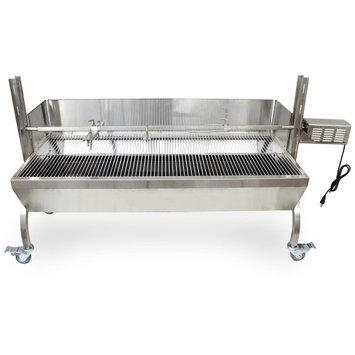 Titan Distributors Rotisserie Grill Roaster w/ Windscreen Stainless Steel 13W 88LBS capacity BBQ