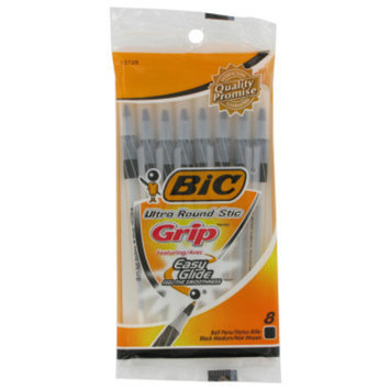 BIC Ultra Round Stic Pens with Grip - 8 pack Assorted Styles and Colors