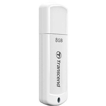 Transcend JetFlash370 8GB Flash Drive - USB2.0, Ultra Light, Extremely Slim, Portable, White - TS8GJF370
